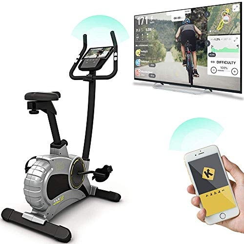 Sportstech Exercise Bike ESX500 with smartphone app control + 12KG inertia, pulse belt compatible – fitness bike hometrainer with low-noise belt drive system – with Kinomap