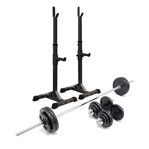 Bodymax 50kg Squat Package – Squat Stands, Barbell & Dumbbells