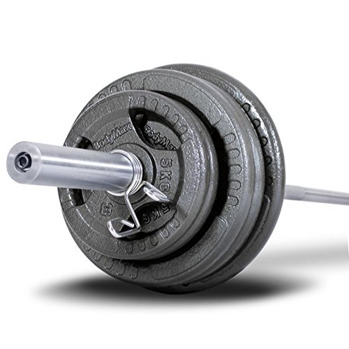 Bodymax adult, 100 kg Olympia iron barbell set with triple handle holes and 220 cm, 7 foot barbell bar, WTWK0046