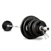 Bodymax Gym Bar with Grooved Rubber Discs and Spring Collars 6ft