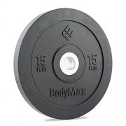 Bodymax Olympic Rubber Bumper Weight Disc Plate – Black 15kg