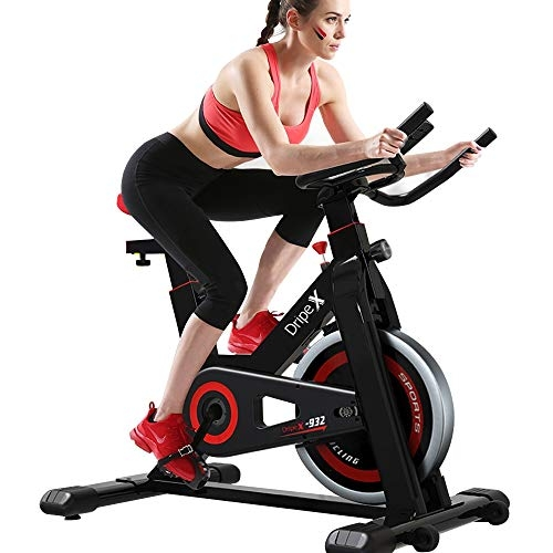 Dripex Upright Exercise Bikes (Indoor Studio Cycles) – Studio Quality with Heart Rate Monitor, Large Bidirectional Flywheel, Silent Belt Drive, Infinite Resistance