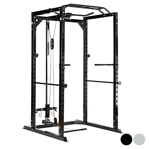 Mirafit Heavy Duty Olympic Power Cage & Cable System – Black or Silver