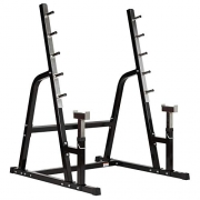 Mirafit Heavy Duty Weight Lifting Rack & Bench Press Spotter – Black & Stainless Steel