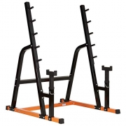 Mirafit Heavy Duty Weight Lifting Rack & Bench Press Spotter – Orange & Black