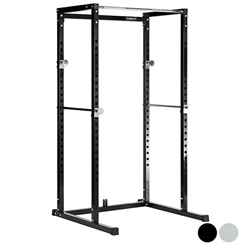 Mirafit Power Rack Weight Lifting Cage & Pull Up Bar – Black or Silver