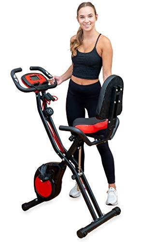 YYFITT 2-in-1 Foldable Fitness Exercise Bike with Resistance Bands